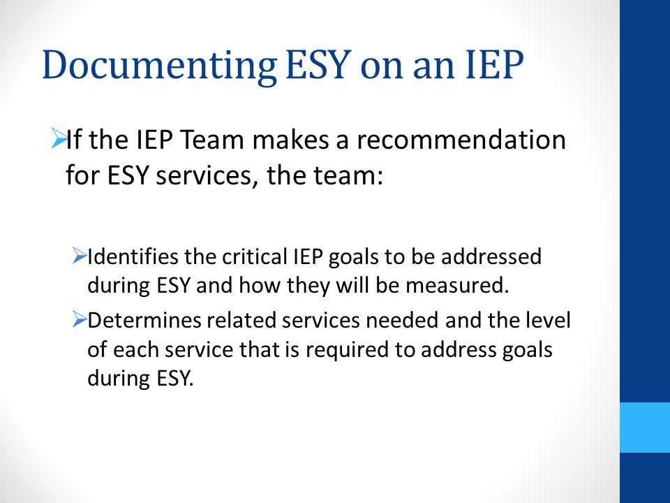 Documenting ESY on an IEP
