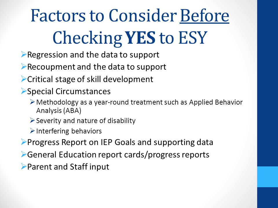 Factors to Consider Before Checking YES to ESY
