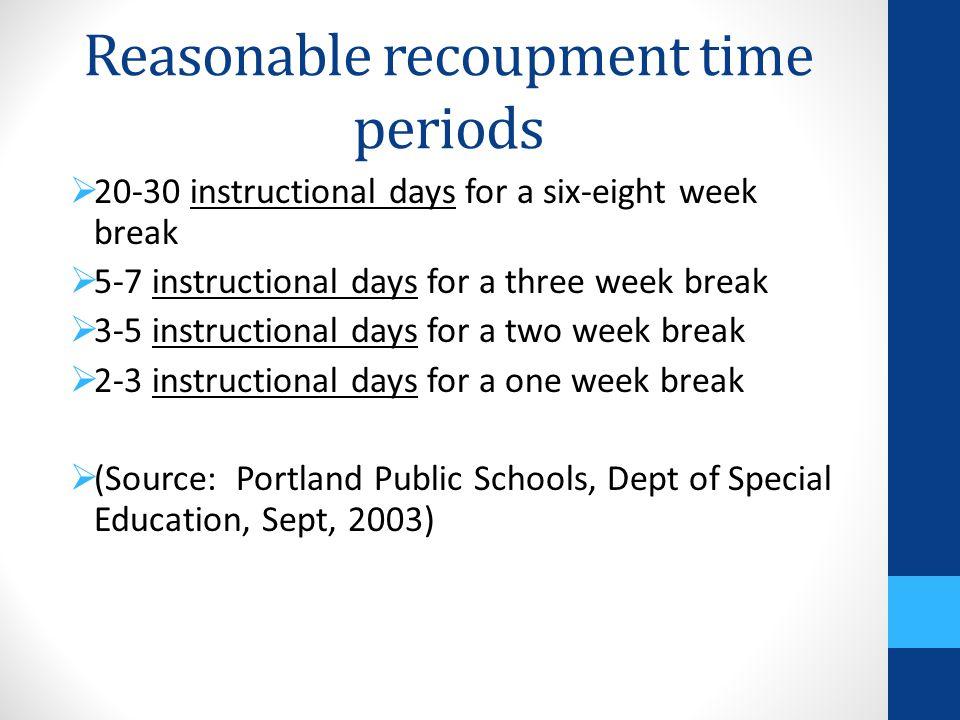 Reasonable recoupment time periods