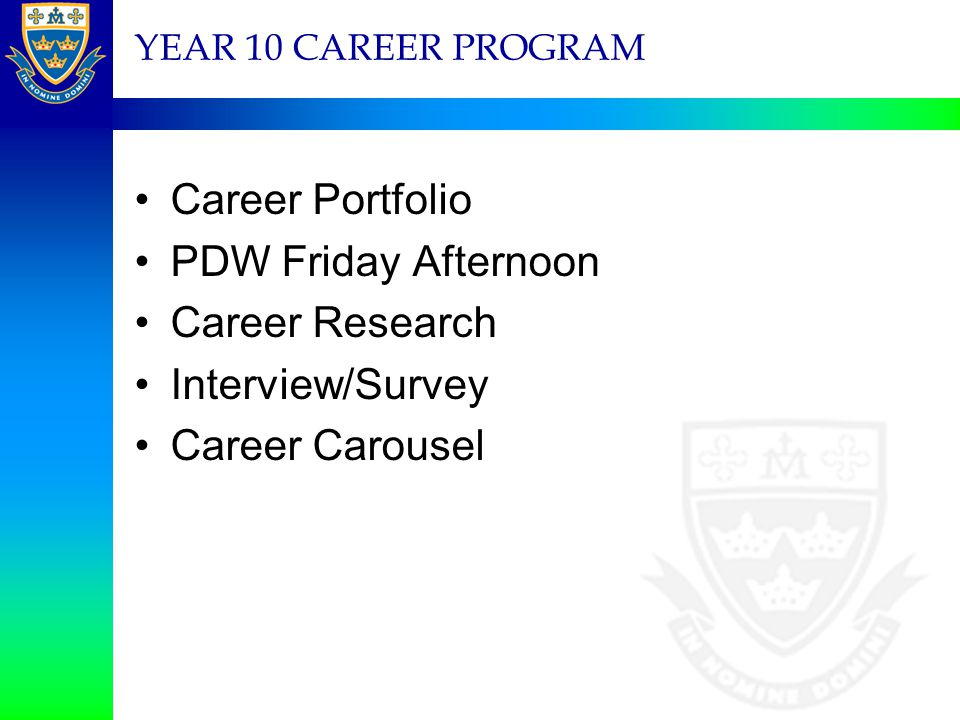 Career Portfolio PDW Friday Afternoon Career Research Interview/Survey