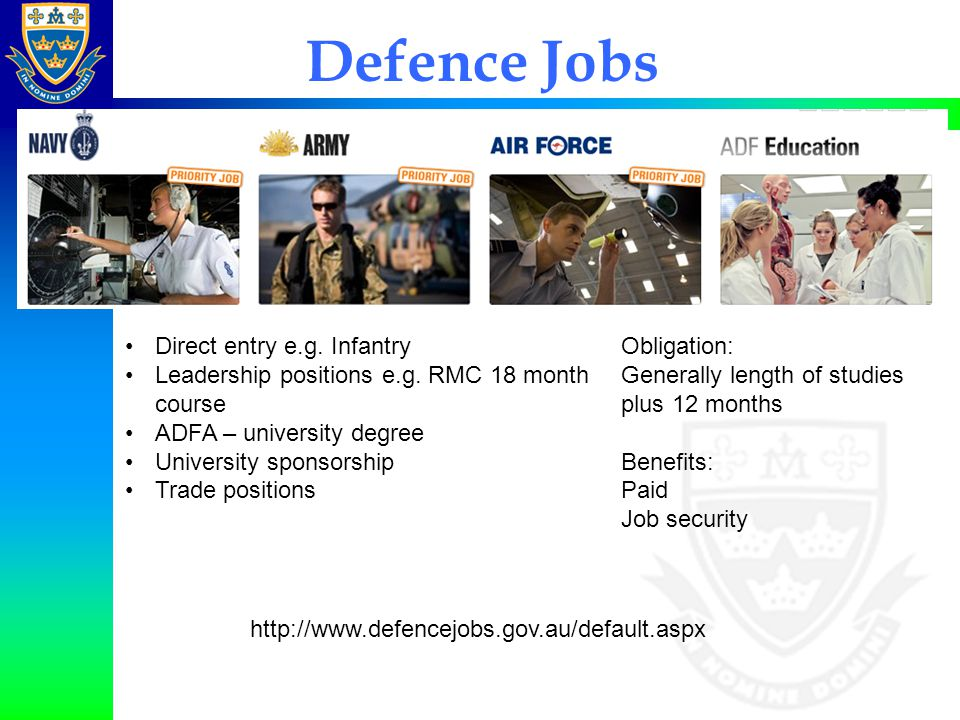 Defence Jobs Direct entry e.g. Infantry