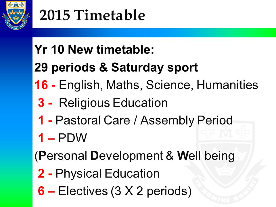 2015 Timetable Yr 10 New timetable: 29 periods & Saturday sport