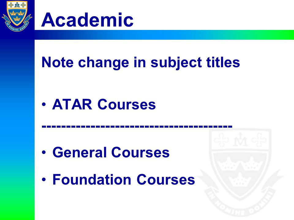Academic Note change in subject titles ATAR Courses
