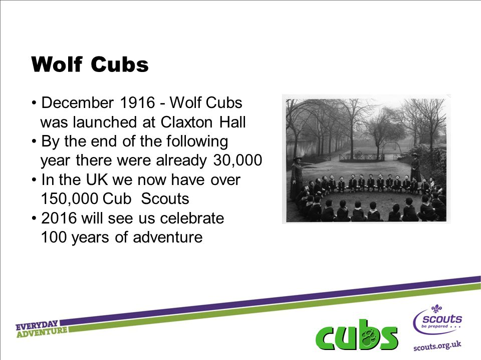 Wolf Cubs December 1916 - Wolf Cubs was launched at Claxton Hall