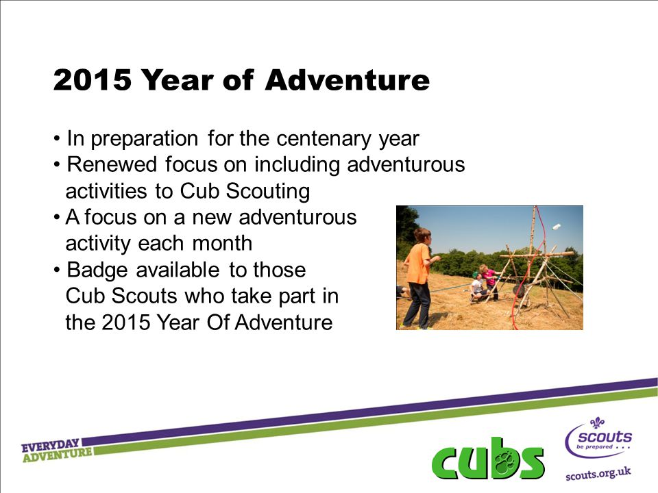 2015 Year of Adventure In preparation for the centenary year