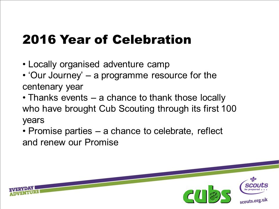 2016 Year of Celebration Locally organised adventure camp