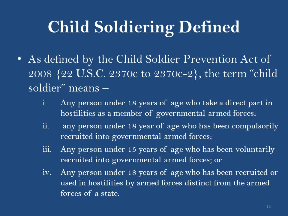 Child Soldiering Defined