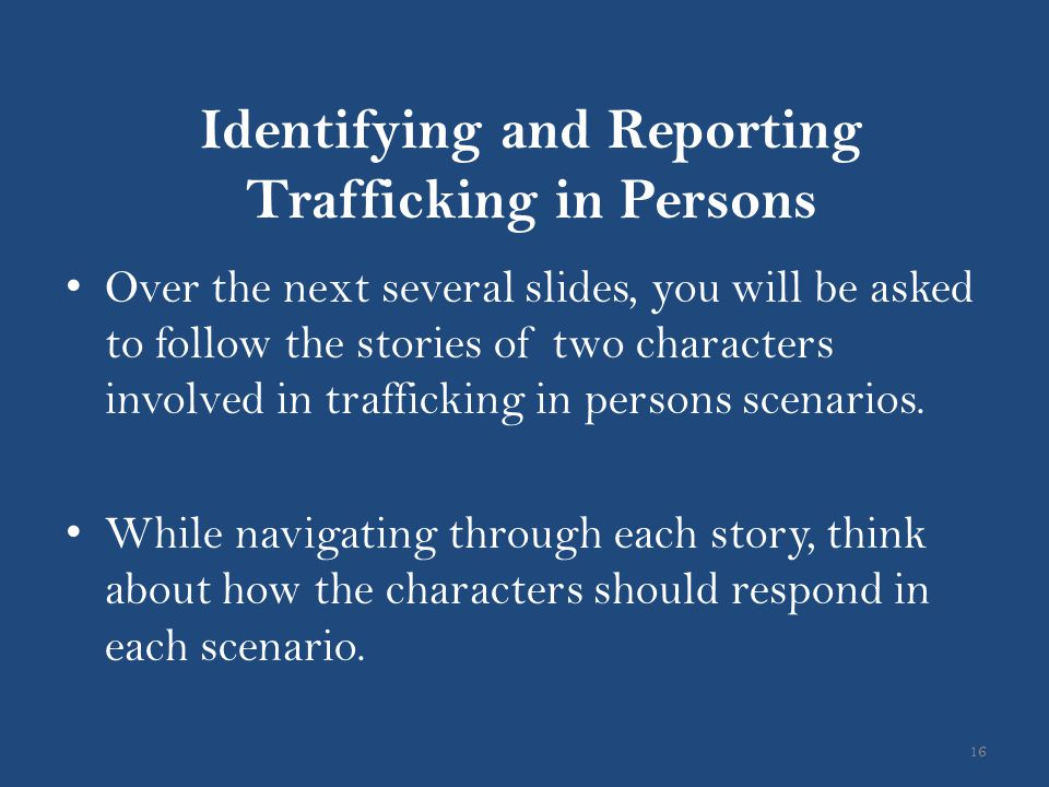 Identifying and Reporting Trafficking in Persons