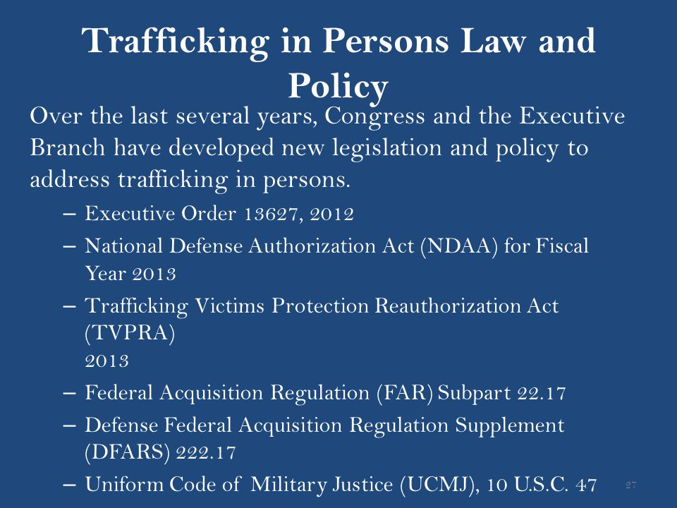 Trafficking in Persons Law and Policy