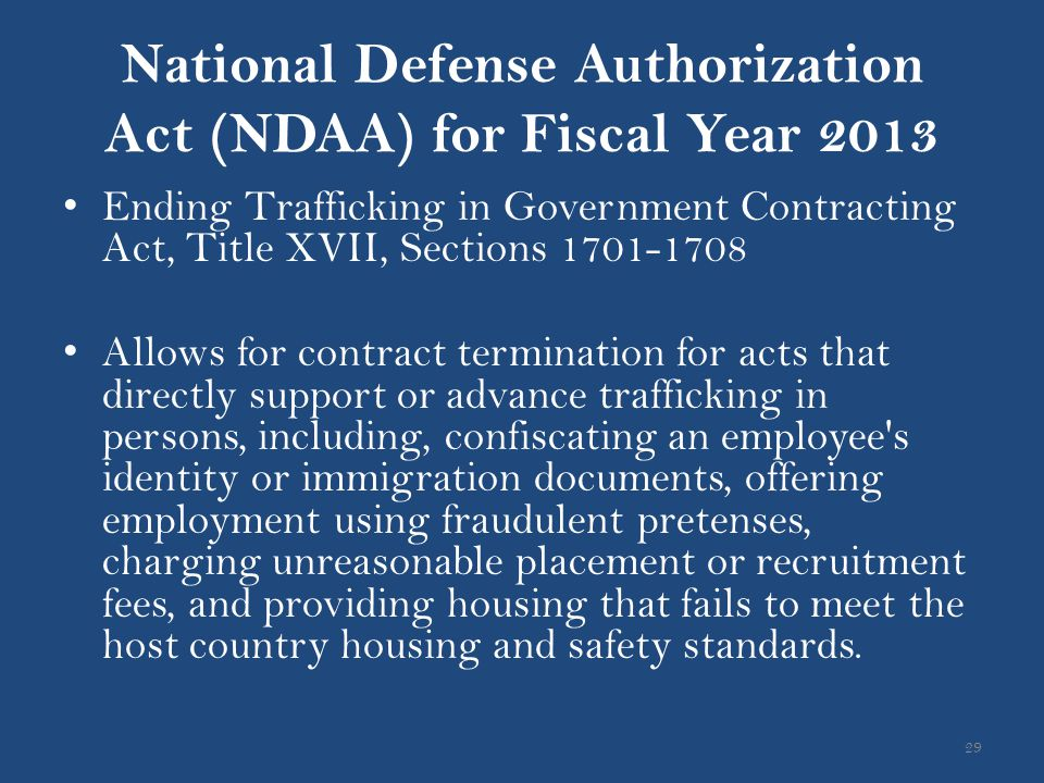 National Defense Authorization Act (NDAA) for Fiscal Year 2013