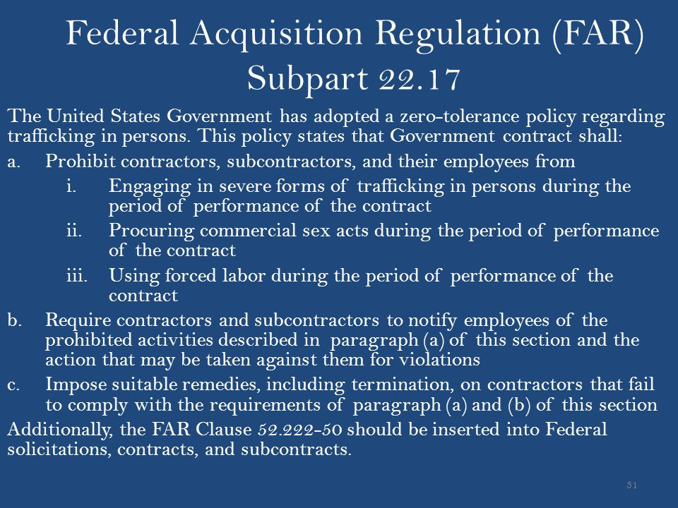 Federal Acquisition Regulation (FAR) Subpart 22.17