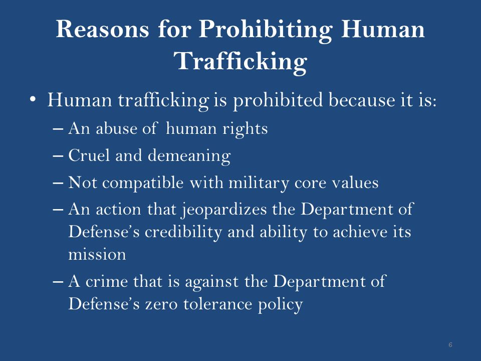 Reasons for Prohibiting Human Trafficking