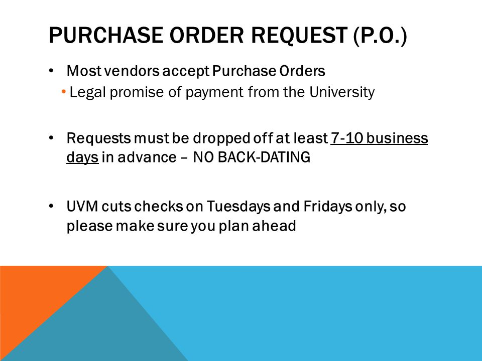 Purchase order Request (p.o.)