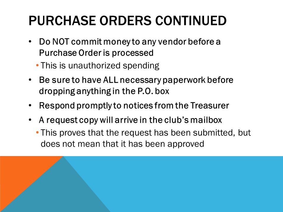 Purchase orders continued