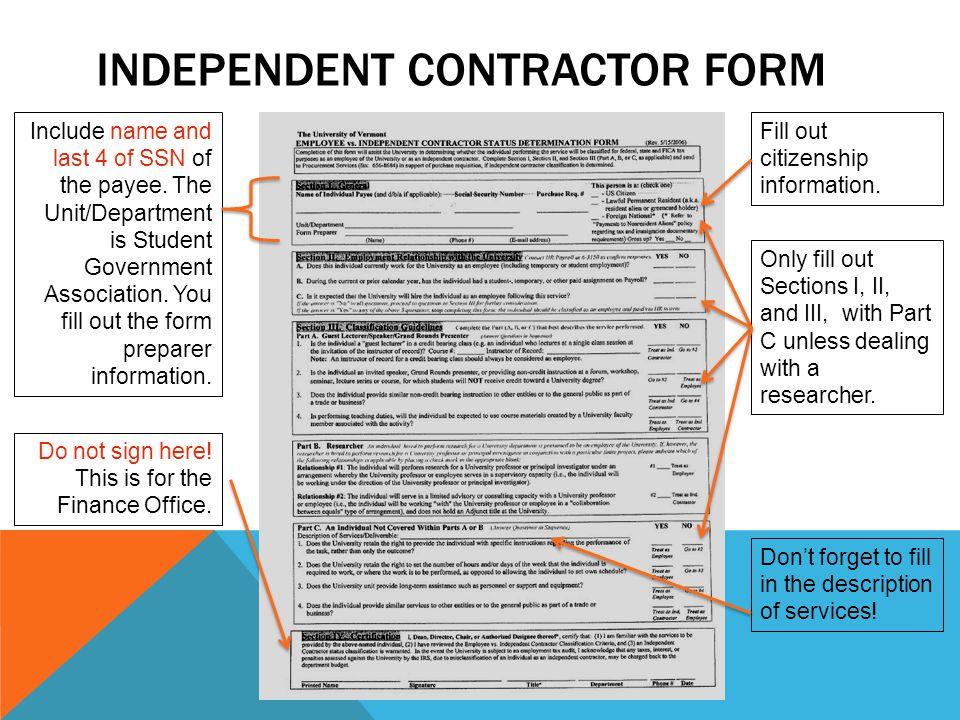 Independent contractor form