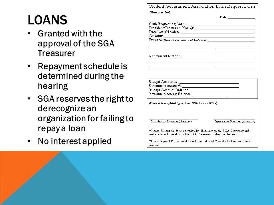 Loans Granted with the approval of the SGA Treasurer