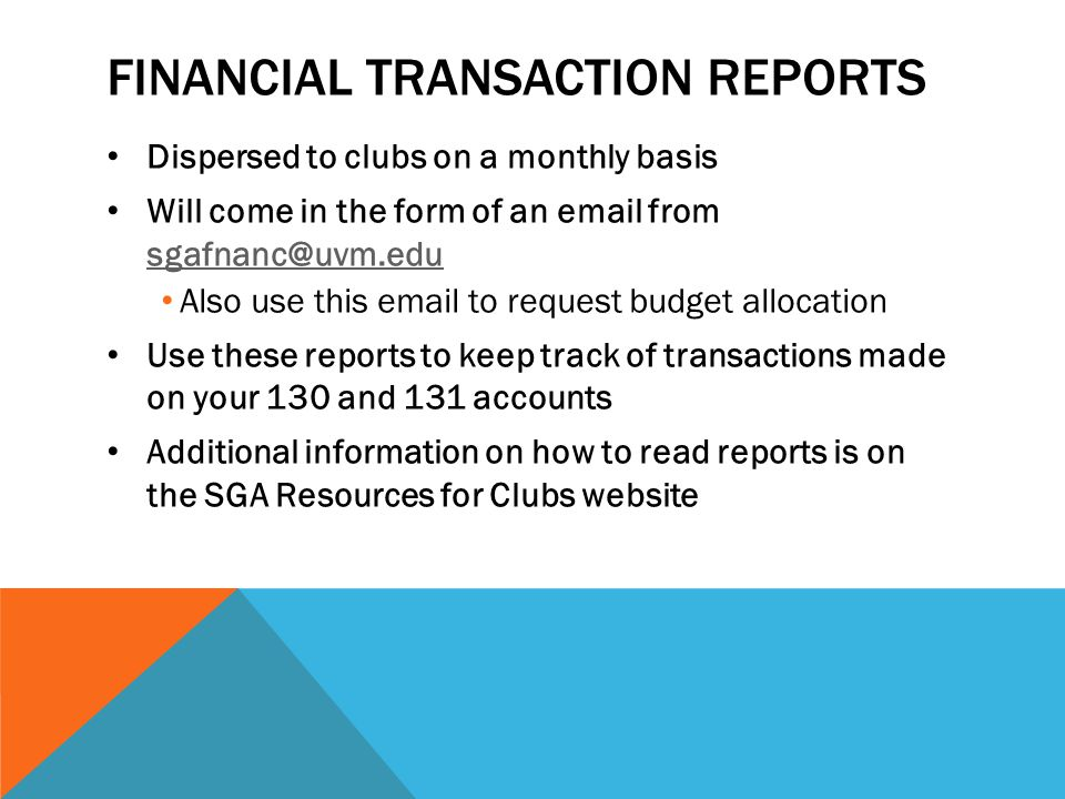 Financial Transaction reports