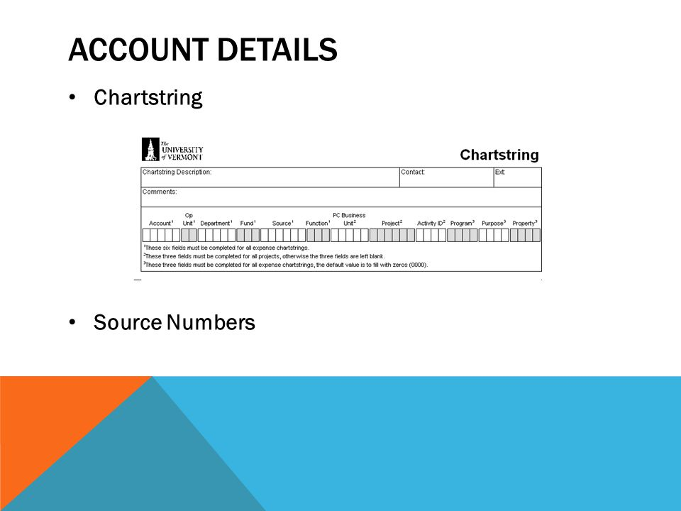 Account details Chartstring Source Numbers