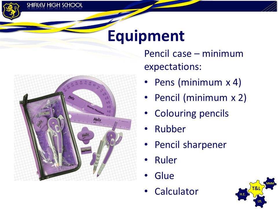 Equipment Pencil case – minimum expectations: Pens (minimum x 4)