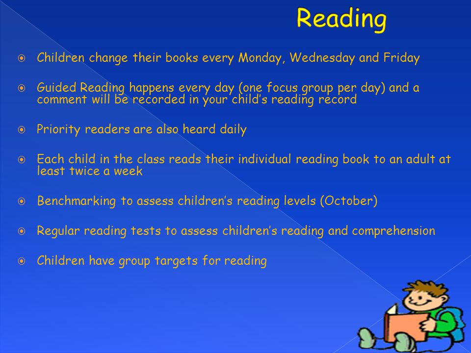 Reading Children change their books every Monday, Wednesday and Friday