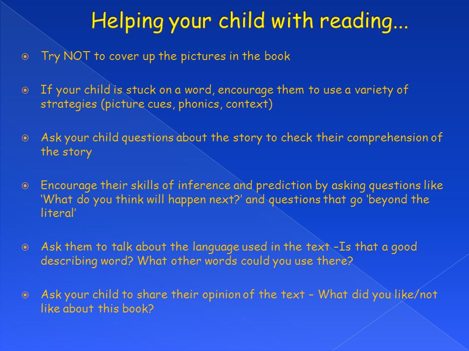 Helping your child with reading...
