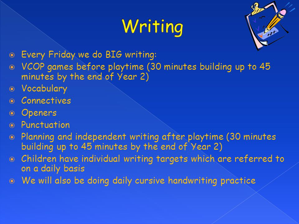 Writing Every Friday we do BIG writing: