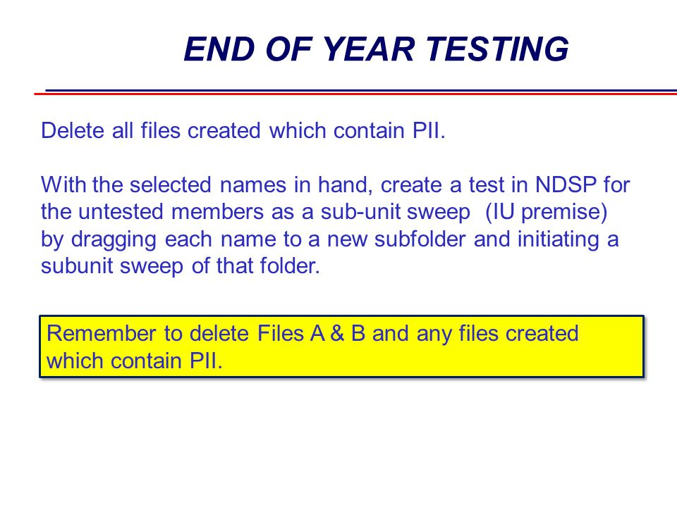 END OF YEAR TESTING Delete all files created which contain PII.
