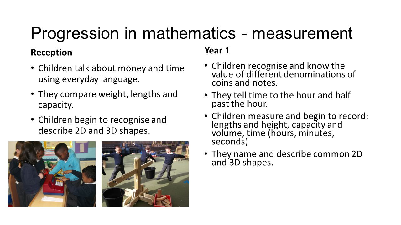 Progression in mathematics - measurement