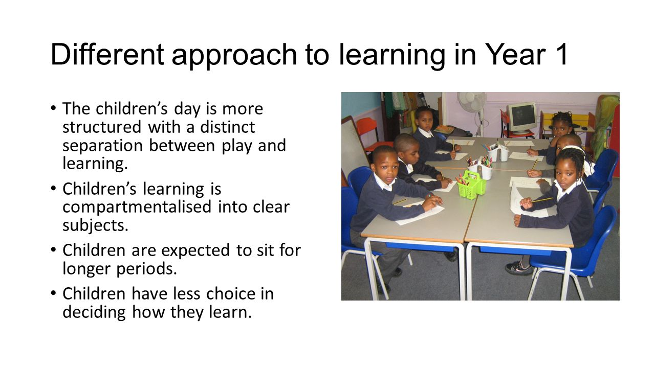 Different approach to learning in Year 1