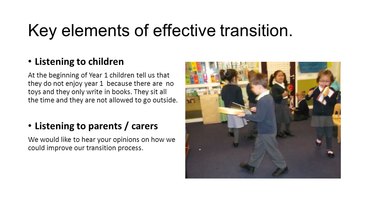 Key elements of effective transition.