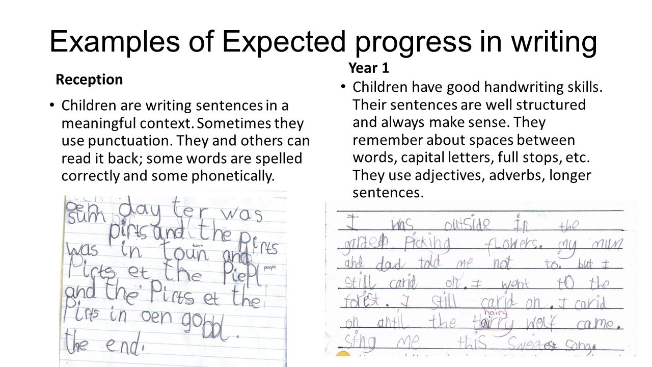 Examples of Expected progress in writing