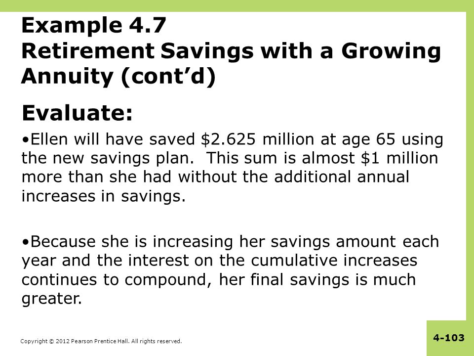 Example 4.7 Retirement Savings with a Growing Annuity (cont'd)