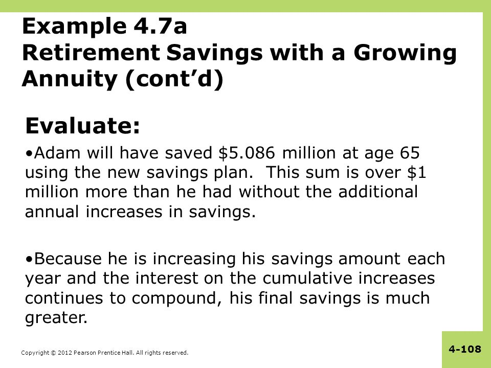 Example 4.7a Retirement Savings with a Growing Annuity (cont'd)