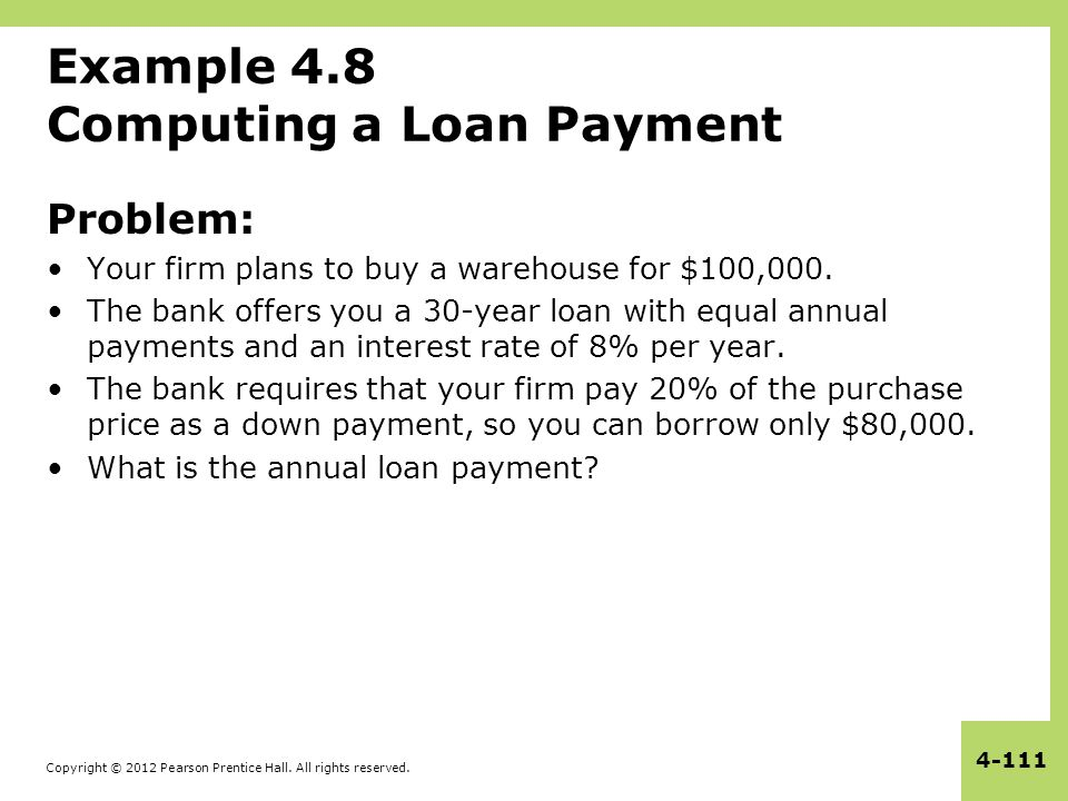 Example 4.8 Computing a Loan Payment