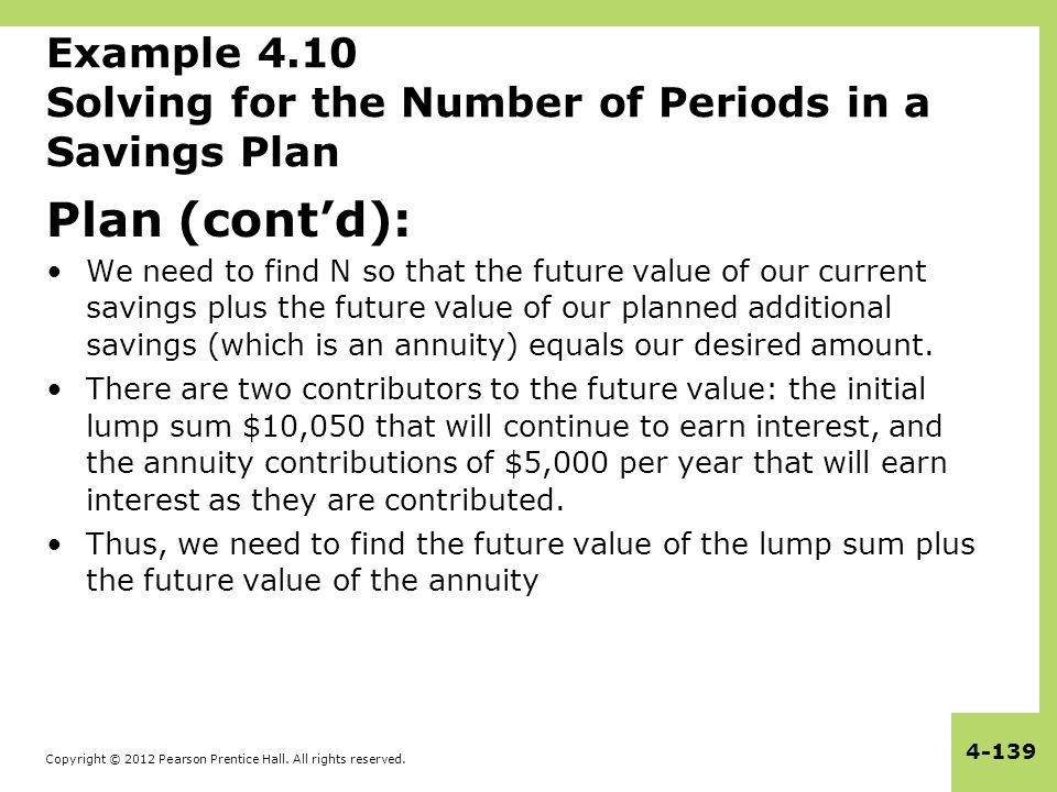 Example 4.10 Solving for the Number of Periods in a Savings Plan