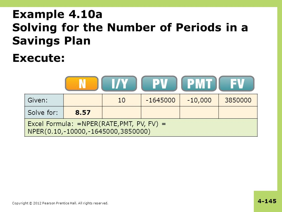 Example 4.10a Solving for the Number of Periods in a Savings Plan