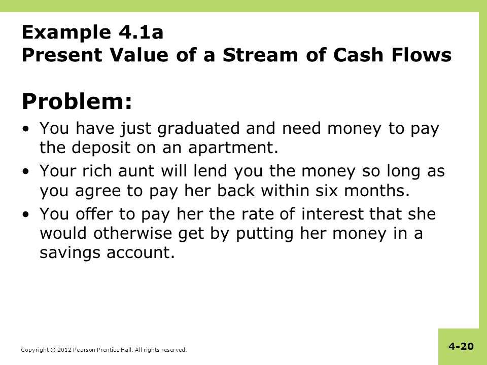 Example 4.1a Present Value of a Stream of Cash Flows
