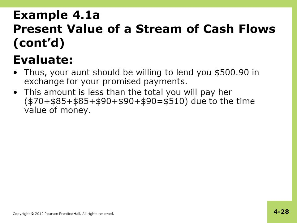 Example 4.1a Present Value of a Stream of Cash Flows (cont'd)