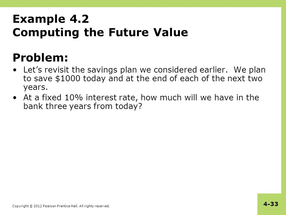 Example 4.2 Computing the Future Value