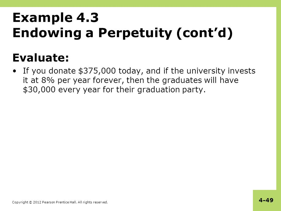 Example 4.3 Endowing a Perpetuity (cont'd)