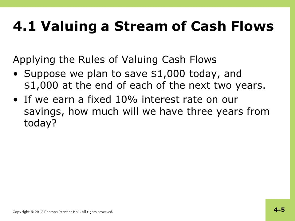 4.1 Valuing a Stream of Cash Flows