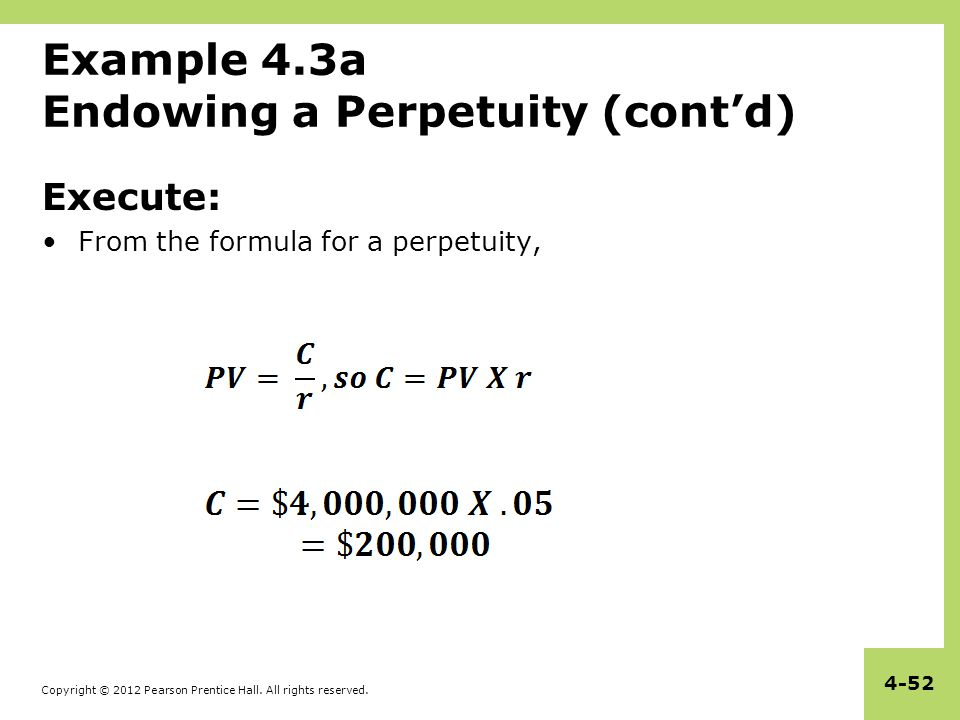 Example 4.3a Endowing a Perpetuity (cont'd)