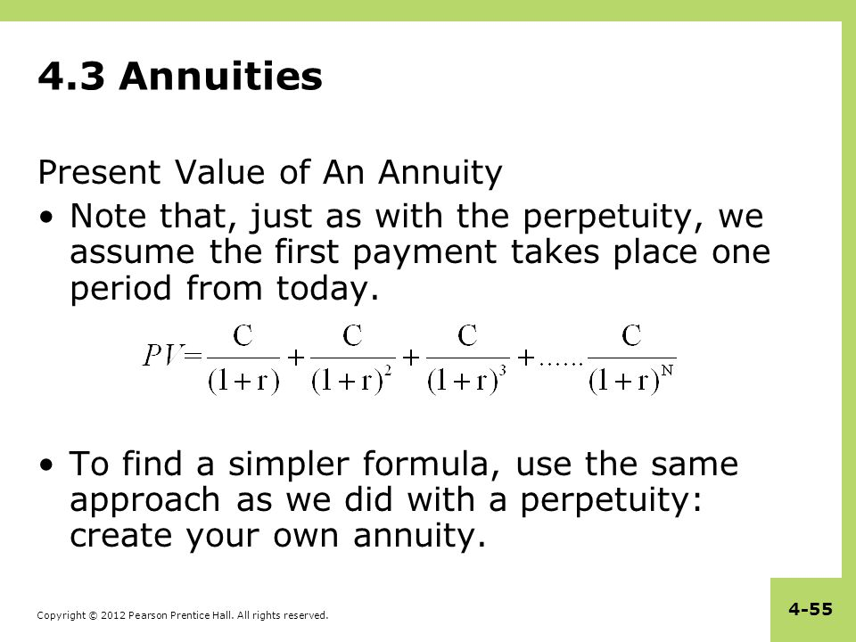 4.3 Annuities Present Value of An Annuity