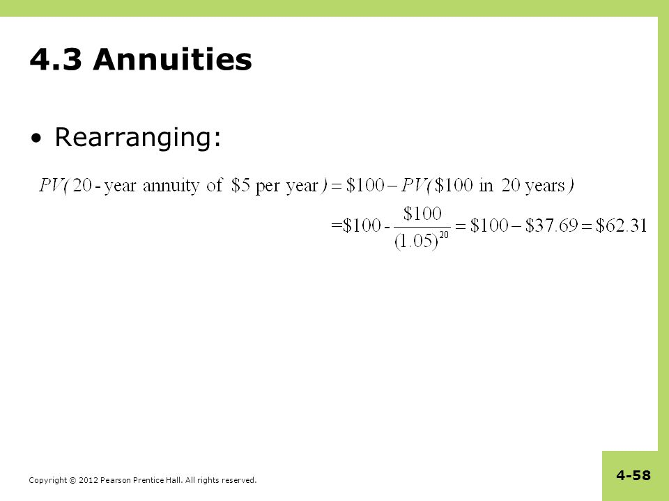 4.3 Annuities Rearranging: