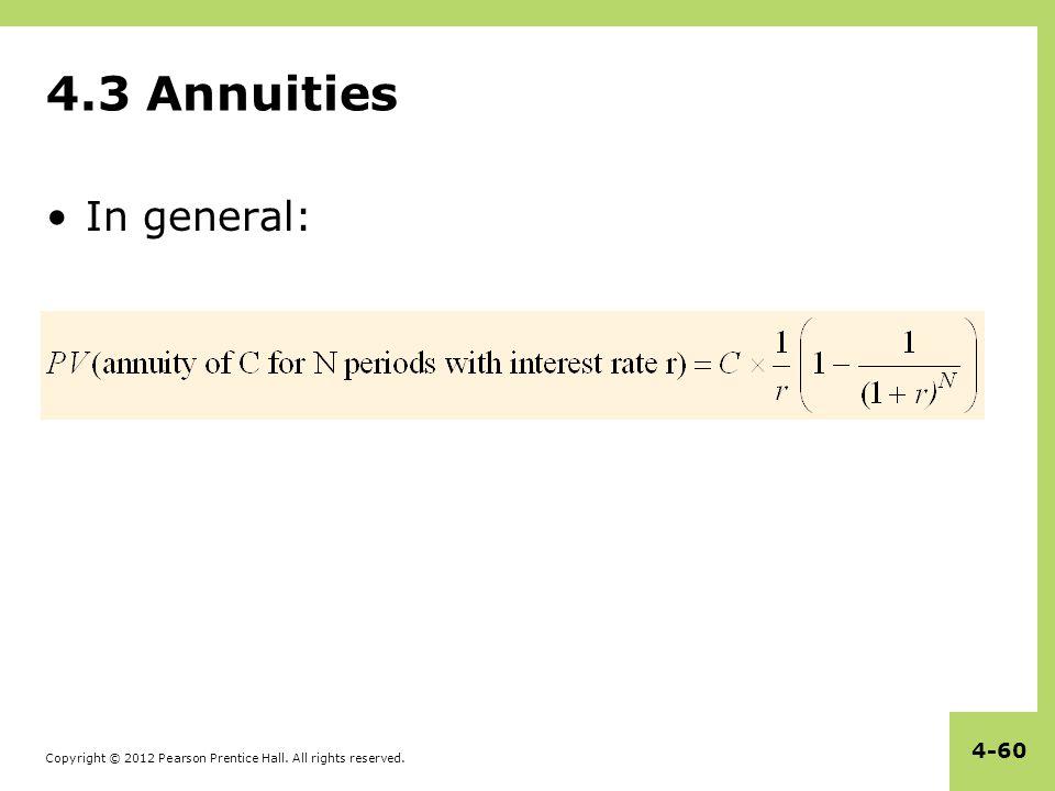 4.3 Annuities In general: