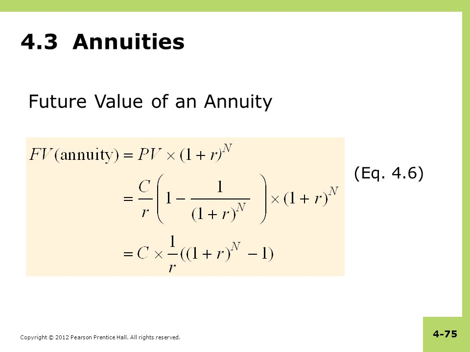 4.3 Annuities Future Value of an Annuity (Eq. 4.6)