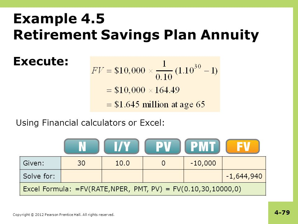 Example 4.5 Retirement Savings Plan Annuity