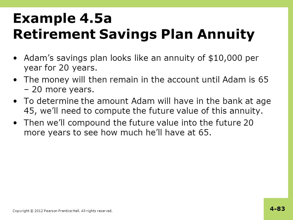 Example 4.5a Retirement Savings Plan Annuity