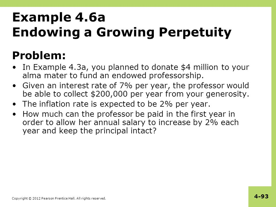 Example 4.6a Endowing a Growing Perpetuity