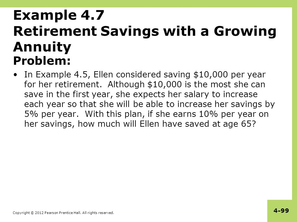 Example 4.7 Retirement Savings with a Growing Annuity